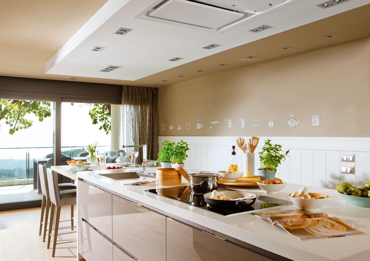 cocina con falso techo