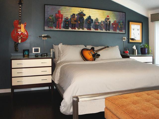 Dormitorio de un var n joven for Rock n roll living room